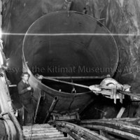 Penstock liner being lowered