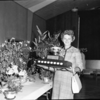 A Lady With Her Trophy At The Rotary Flower Show