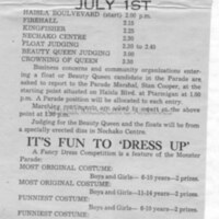 Ad in paper outlining 1957 Parade Route and Schedule