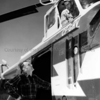 Carl Agar and Bill McLeod with Sikorsky helicopter