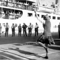 Young Girl Gives Welcome Dance to Princess Patricia Passengers