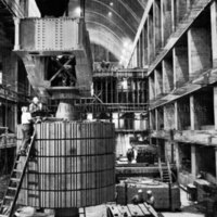 Preparing to lift powerhouse uppershaft and rotor disks