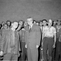 Prime Minister John Diefenbaker meets potline workers